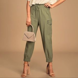 The Bottom Line Olive Green Cargo Joggers